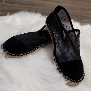 B2G1 Zara Basic Black Mesh Jute Polka Dot Flats